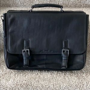 Kenneth Cole black leather briefcase / laptop bag